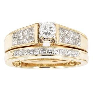 Sofia 14K Yellow Gold 1ct TDW Princess and Round Cut Bridal Set (H-I, I1)
