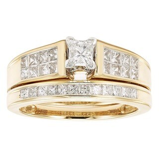 Sofia 14K Yellow Gold 1ct TDW Princess Cut Bridal Set