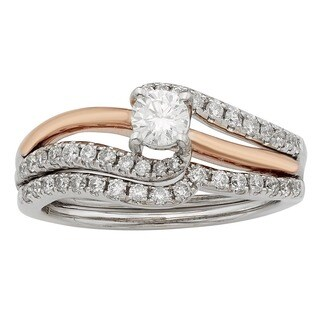 Sofia 14K White and Rose Gold 3/4ct TDW Round Cut Bridal Set (H-I, I1-I2)