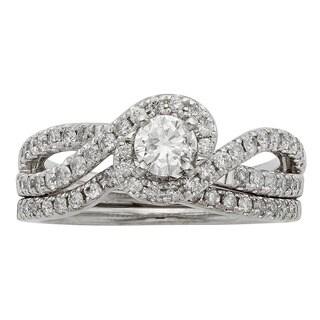 Sofia 14K White Gold 1ct TDW Round Cut Bridal Set (H-I, I1-I2)