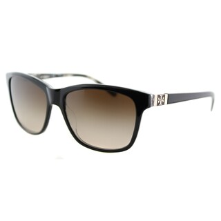 Tory Burch TY 7031 910/13 Black on Tribal Plastic Rectangle Brown Gradient Lens Sunglasses