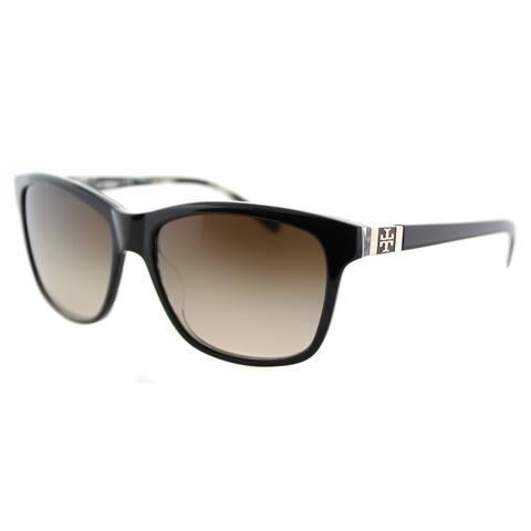 Tory Burch TY 7031 910/13 Black on Tribal Plastic Rectangle Brown Gradient Lens Sunglasses