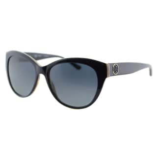 Tory Burch TY 7084 14924U Metal-Ring Logo Cat-Eye Navy on Horn Plastic Cat-Eye Blue Gradient Polarized Lens Sunglasses