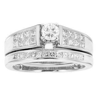 Sofia 14K White Gold 1ct TDW Certified Round Cut Bridal Set (H-I, I1)