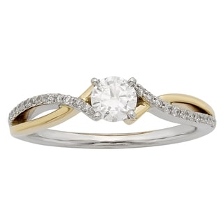 Sofia 14K White and Yellow Gold 1/2ct TDW Round Cut Ring