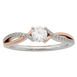 Sofia 14K White and Rose Gold 1/2ct TDW Round Cut Ring