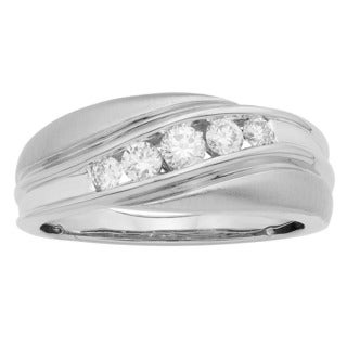 Sofia 14K White Gold 1/2ct TDW 4-stone Swirl Round Cut Men's Ring (H-I, I1-I2)