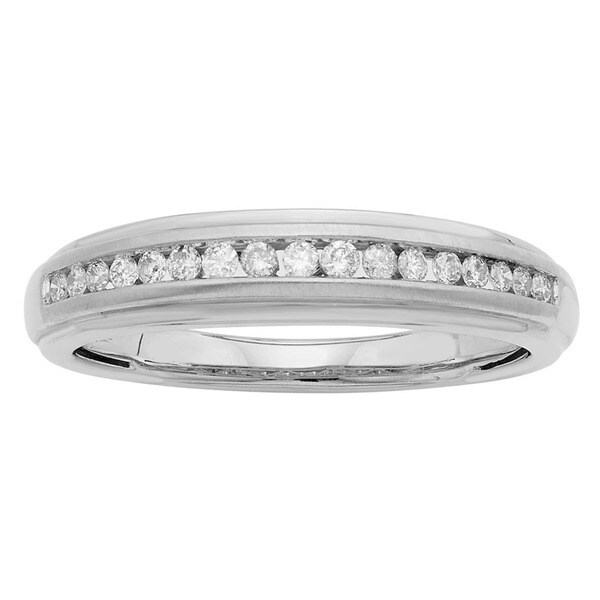 Sofia 14K White Gold 1/4ct TDW Round Cut Men's Ring