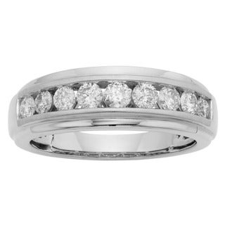 Sofia 14K White Gold 1ct TDW Round Cut Men's Ring (More options available)