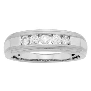 Sofia 14K White Gold 1/2ct TDW Round Cut Men's Ring (H-I, I1-I2)