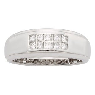 Sofia 14K White Gold 1/2ct TDW Princess Cut Men's Ring (H-I, I1)