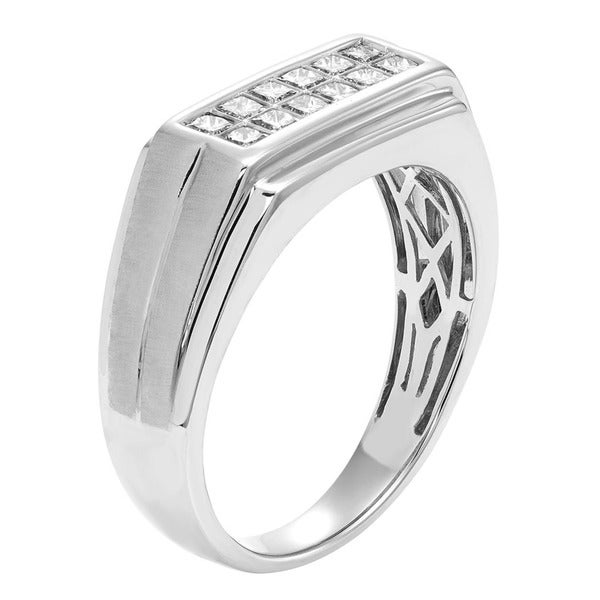 Sofia 14K White Gold 1/2ct TDW 12-stone Princess Cut Men's Ring