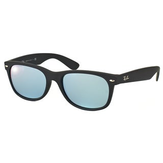 Ray-Ban RB 2132 620.660 Black Rubber Plastic Wayfarer Silver Mirror Lens Sunglasses