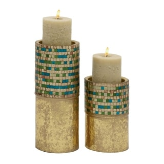 Studio 350 Metal Mosaic Candle Holder Set of 2, 9 inches, 14 inches high