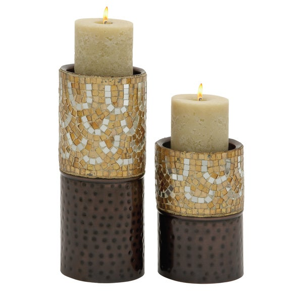 Charming Set of Two Metal Mosaic Candle Holder