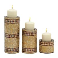 The Curated Nomad Belli Metal Mosaic Candle Holders (Set of 3)