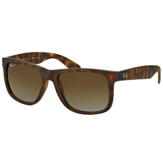 Ray-Ban RB 4165 865/13 Justin Havana Rubber Plastic Rectangle Brown Gradient Polarized Lens Sunglasses