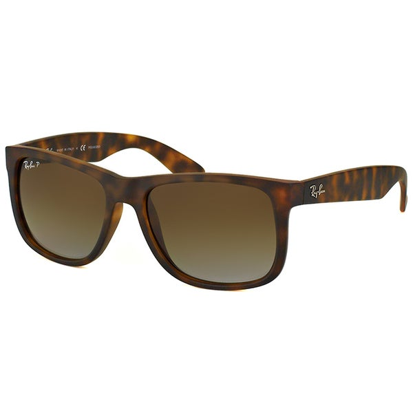 3c5e5754e21 Ray-Ban RB 4165 865 13 Justin Havana Rubber Plastic Rectangle Brown  Gradient Polarized