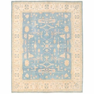 Herat Oriental Afghan Hand-knotted Super Kazak Light Blue/ Navy Wool Rug (7'10 x 10'1)