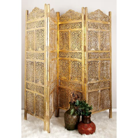 """80"""" x 71"""" Large 4-Panel Wooden Screen Room Divider by Studio 350"""