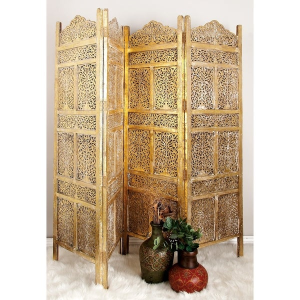 "80"" x 71"" Large 4-Panel Wooden Screen Room Divider by Studio 350. Opens flyout."
