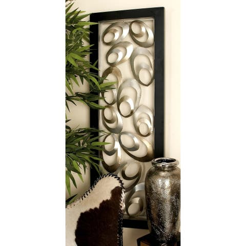Contemporary 48 x 16 Inch Abstract Oval Metal Wall Panel by Studio 350