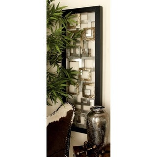 Modern 48 Inch Iron Abstract Floating Squares Wall Panel by Studio 350