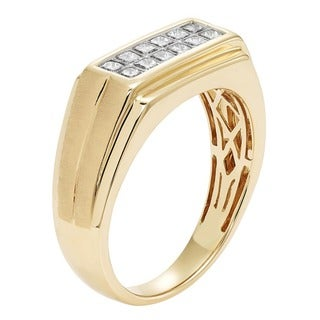 Sofia 14K Yellow Gold 1/2ct TDW Princess Cut Men's Ring