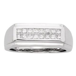 Sofia 14K White Gold 1/2ct TDW 16-stone Princess Cut Men's Ring