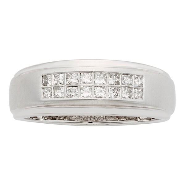 Sofia 14K White Gold 1/2ct TDW 8-stone Princess Cut Men's Ring