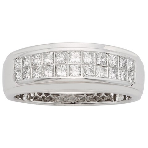 Sofia 14K White Gold 1/2ct TDW 22-stone Princess Cut Men's Ring