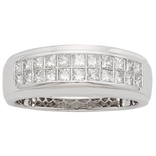 Sofia 14K White Gold 1/2ct TDW 22-stone Princess Cut Men's Ring