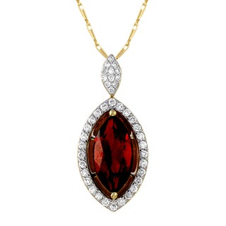 14k Yellow Gold 1/4ct TDW Diamonds and Genuine Marquise Garnet Necklace (H-I, SI2-I1)