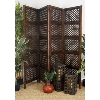 Traditional 72 X 80 Inch Traditional Wood 4-Panel Screen by Studio 350