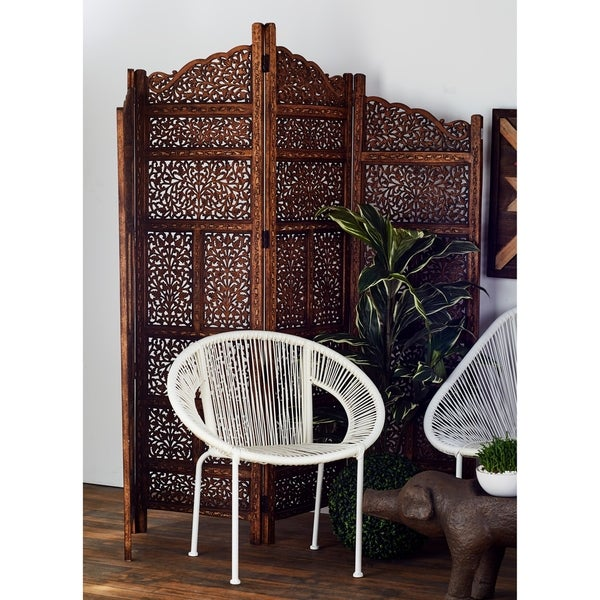 Hand Carved Fold Able 4 Panel Wooden Parion Screen Room Divider Brown