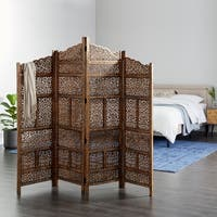 Hand Carved Fold-able 4-Panel Wooden Partition Screen/ Room Divider, Brown