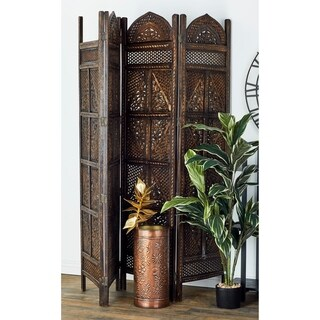 Traditional 72 Inch Antique Wooden 4-Panel Room Divider by Studio 350