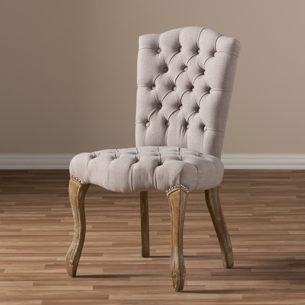 Baxton Studio Achaikos French Provincial Inspired Weathered Oak Beige Linen Upholstered Dining Side Overstock 11829876