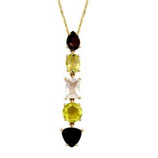 Beverly Hills Charm 14k Yellow Gold 4 1/2 ct. Graduated Gemstones Necklace