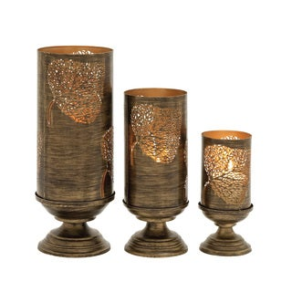 Modish Set of Three Metal Candle Holders