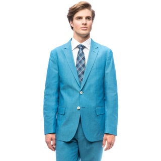 Men's Aqua Blue Single-breasted Cotton Suit