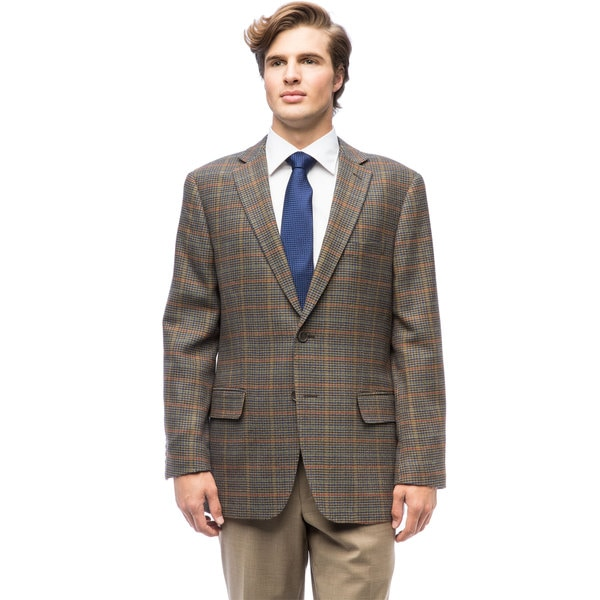 Shop Men S Forest Green Plaid Wool Jacket Free Shipping