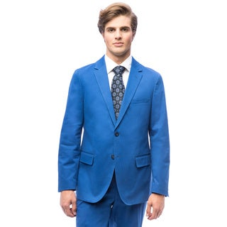 Men's French Blue Cotton Single-breasted Suit