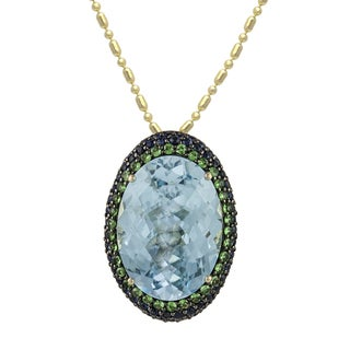 14k Yellow Gold 15 1/2ct Genuine Gemstones Oval Necklace