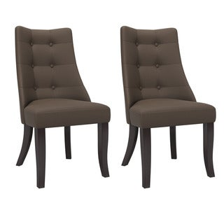 Copper Grove Krk Button-tufted Armless Dining Chairs (Set of 2) (Brown)