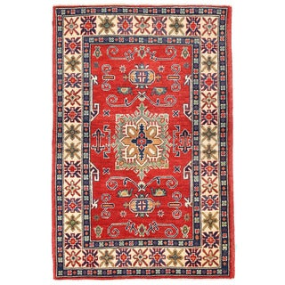 Herat Oriental Afghan Hand-knotted Kazak Wool Rug (3'4 x 4'10)