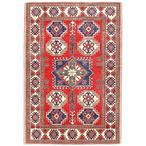 Herat Oriental Afghan Hand-knotted Kazak Wool Rug (4'3 x 6'3)