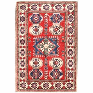 Herat Oriental Afghan Hand-knotted Kazak Red/ Ivory Wool Rug (4'3 x 6'3)