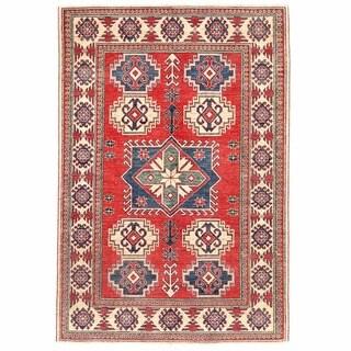 Herat Oriental Afghan Hand-knotted Kazak Wool Rug (4'3 x 6'2)
