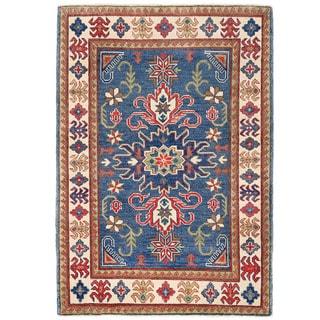 Herat Oriental Afghan Hand-knotted Kazak Navy/ Ivory Wool Rug (3'5 x 4'10)